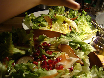 Escarole Salad with Roasted Pears and Pomegranate Seeds