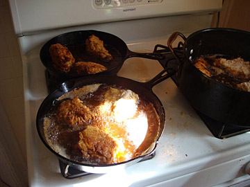 Fried chicken on multiple burners — a thing of beauty