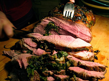 Carving the Leg of Lamb with Pomegranate Molasses