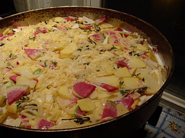 Potato and Turnip Casserole before baking...(with pretty pink turnips)