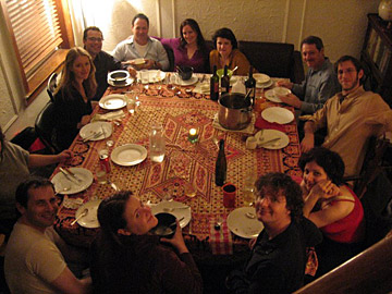 Later, the happy guests enjoy the emergency table
