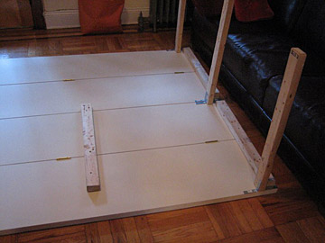 One night, SND oversold, so Peter built an extra table out of closet doors